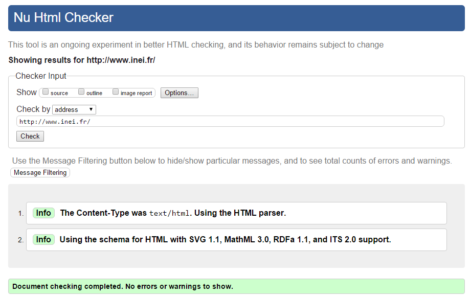 Capture écran validator W3C sur site inei.fr